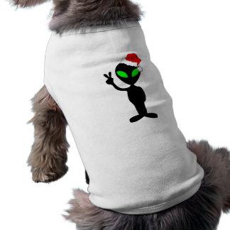 Extranjero divertido santa de la paz camiseta de perro