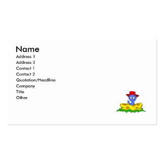 Extranjero en piscina del kiddie con el gorra ence tarjeta de visita