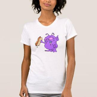 Extranjero púrpura alrededor para comer el perrito camisetas