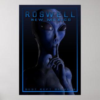 Extranjero, siendo, UFO, Roswell, misterio, encuen Póster