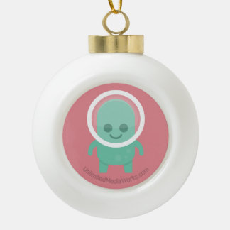 Extranjero sonriente adorno de cerámica en forma de bola