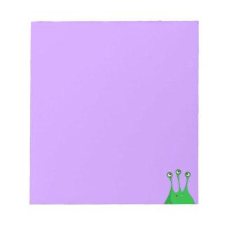 Extranjero tres-observado verde divertido bloc de notas