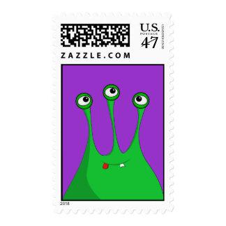 Extranjero tres-observado verde divertido sellos postales