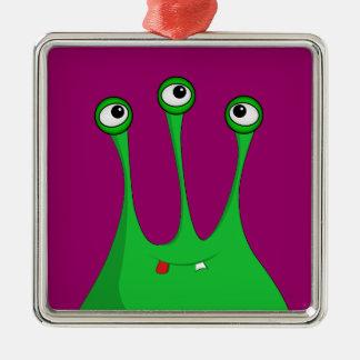 Extranjero verde del dibujo animado adorno cuadrado plateado