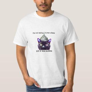 Extranjeros camiseta, hombres del gato negro playera
