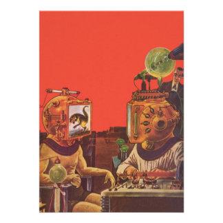 Extranjeros de la ciencia ficción del vintage con  anuncios