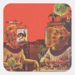 Extranjeros de la ciencia ficción del vintage con calcomanía cuadradas personalizada
