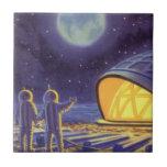 Extranjeros de la ciencia ficción del vintage en tejas  ceramicas