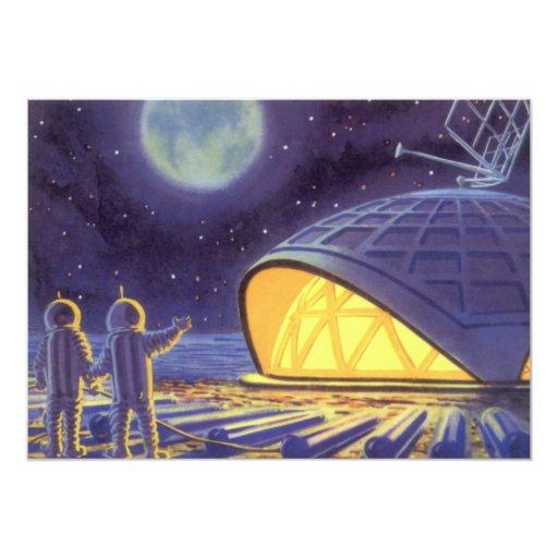 """Extranjeros de la ciencia ficción del vintage en invitación 5"""" x 7"""""""