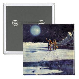 Extranjeros de la ciencia ficción del vintage en pin cuadrada 5 cm