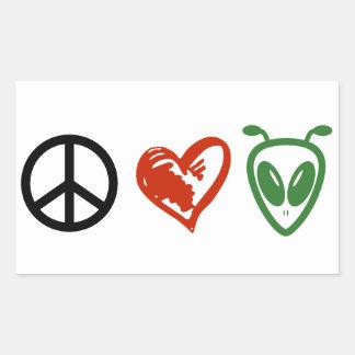 Extranjeros del amor de la paz pegatina rectangular
