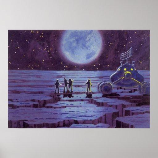 Extranjeros y luna Rover de la ciencia ficción del Póster