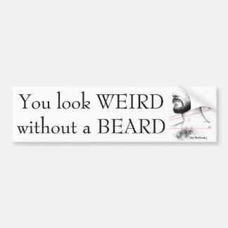 Extraño sin una barba etiqueta de parachoque