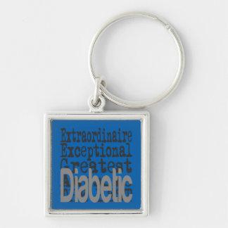 Extraordinaire diabético llavero cuadrado plateado