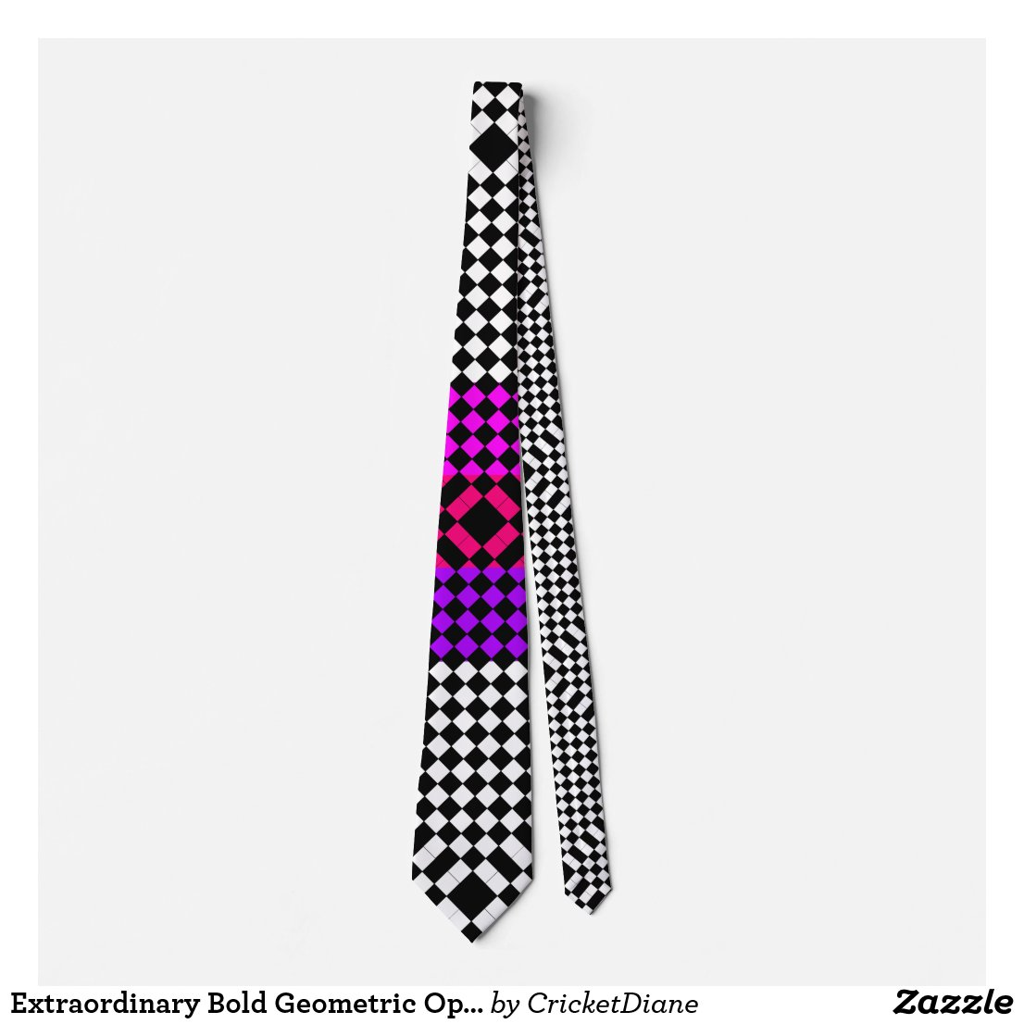 Extraordinary Bold Geometric Op Art CricketDiane Neck Tie