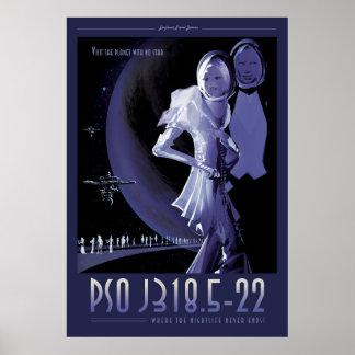 Extrasolar Planet Sci-Fi Travel Illustration Poster