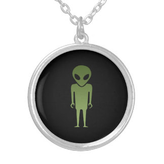 Extraterrestrial Alien Body Silver Plated Necklace