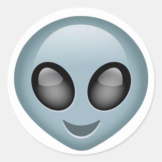Extraterrestrial Alien Emoji Classic Round Sticker Zazzlecom