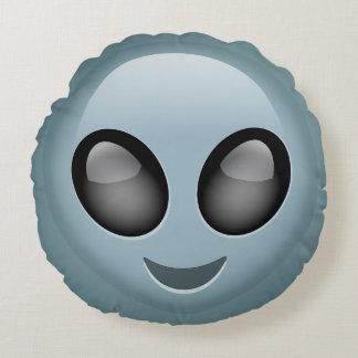 Extraterrestrial Alien Emoji Round Pillow