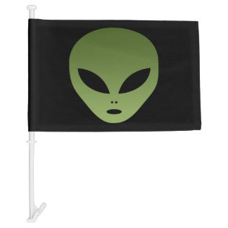 Extraterrestrial Alien Face Car Flag