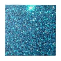 Extravagant Blue Glitter Shine Ceramic Tile
