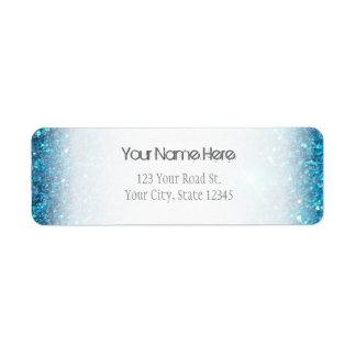 Extravagant Blue Glitter Shine Return Address Label