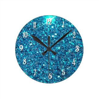 Extravagant Blue Glitter Shine Round Clock