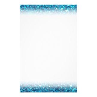 Extravagant Blue Glitter Shine Stationery Paper