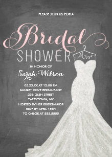 extravagant dress chalkboard bridal shower invitation