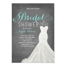 Extravagant Dress Chalkboard Teal | Bridal Shower Card at Zazzle
