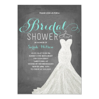 Extravagant Dress Chalkboard Teal | Bridal Shower Card