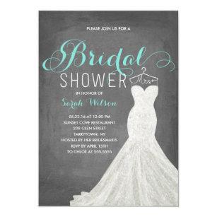 extravagant dress chalkboard teal bridal shower invitation
