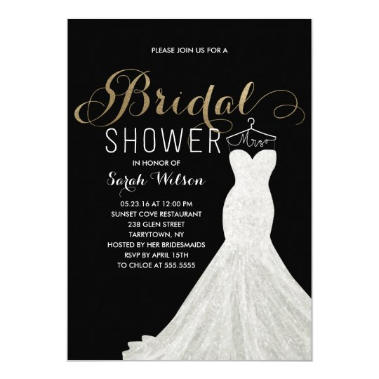 Extravagant dress gold custom color bridal shower card for Custom wedding shower invitations