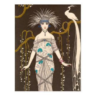 Extravagant Evening Dress Illustration Postcard