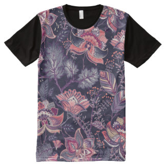 Extravagant purple and pink Flower Pattern All-Over-Print T-Shirt