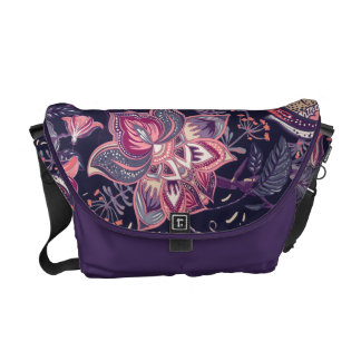 Extravagant purple and pink Flower Pattern Messenger Bag