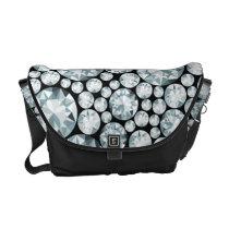Extravagant white Diamond Pattern Courier Bag