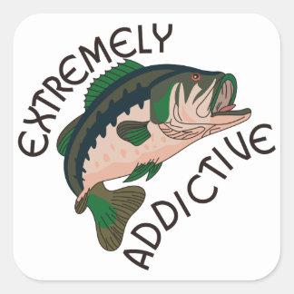 Extremadamente adictivo pegatina cuadrada