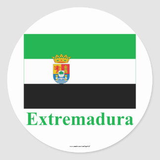 Extremadura flag with name classic round sticker