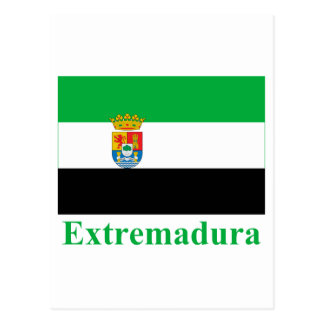 Extremadura flag with name postcard