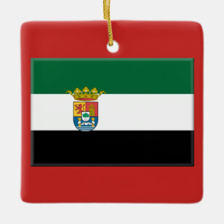 Extremadura, Spain Flag Ceramic Ornament