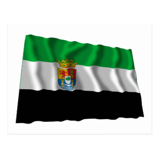 Extremadura waving flag postcard