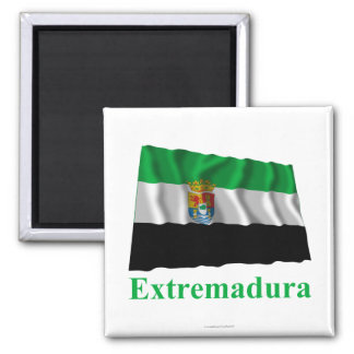 Extremadura waving flag with name magnet