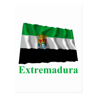 Extremadura waving flag with name postcard