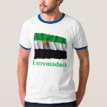 Extremadura waving flag with name shirt