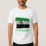 Extremadura waving flag with name t shirt