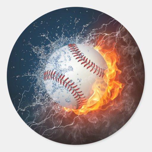Extreme Baseball Round Stickers