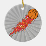 extreme basketball flames on fire ornaments