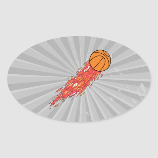extreme basketball flames on fire oval sticker