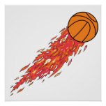 extreme basketball flames on fire print